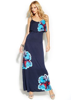 INC International Concepts Petite Ruffled Floral-Print Maxi Dress
