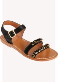 Marni Calf Hair Jeweled Double Band Sandal