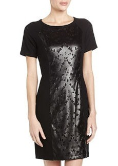 Laundry by Shelli Segal Laser-Cut Faux-Leather Sheath Dress