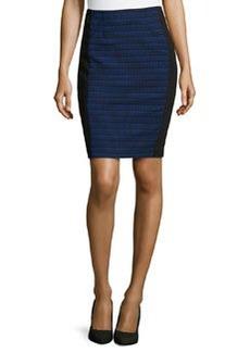 Nanette Lepore Oval-Jacquard Paneled Pencil Skirt, Marine/Black