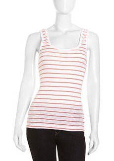 French Connection Striped Scoop-Neck Tank, White/Holiday Crush
