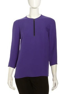 Lafayette 148 New York Mercy Georgette Zip-Front Top, Cosmic