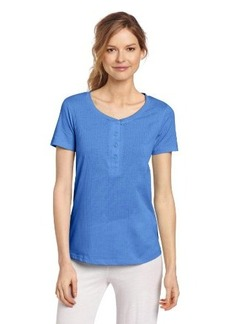 Hue Sleepwear Women's Short Sleeve Henley Sleep Tee