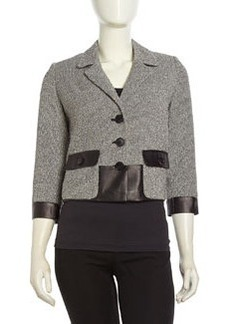 Lafayette 148 New York Tweed-Leather Contrast Jacket, Black Multi