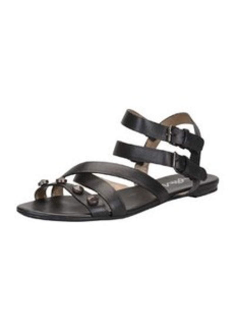 Lanvin Studded Double-Buckle Flat Sandal, Black