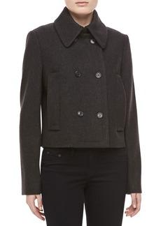 Michael Kors Melange Wool Double-Breasted Coat, Charcoal