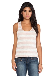 Velvet by Graham & Spencer Shoshana Stripe Linen Knit Tank in Pink