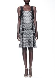 Lanvin Grosgrain-Trim Tweed Dress, Black/Gray