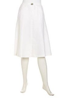 Lafayette 148 New York Greta Grosgrain Detailed Linen Skirt, White