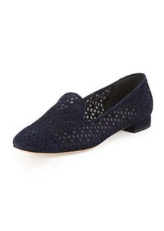 Suede Cutout Mesh Loafer, Blue   Suede Cutout Mesh Loafer, Blue
