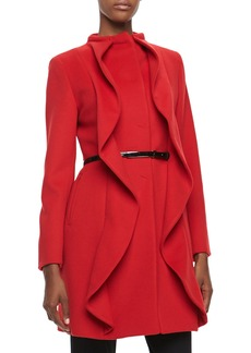 Cinzia Rocca Ruffle-Front Belted Coat