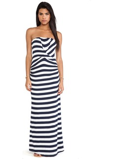 Ella Moss Isla Striped Strapless Maxi Dress in Navy
