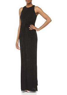 Laundry by Shelli Segal Beaded Draped Front Racerback Gown, Black