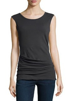 James Perse Sleeveless Draped Stretch-Knit Top, Abyss