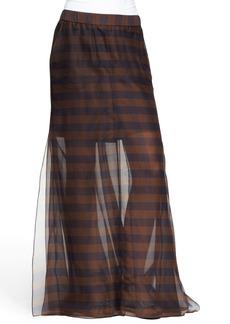 Brunello Cucinelli Sheer Mixed-Stripe Maxi Skirt