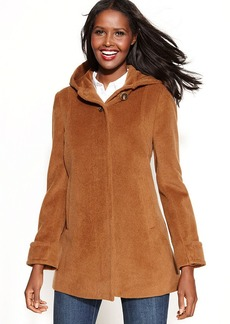 Jones New York Wool-Angora-Blend Hooded Coat