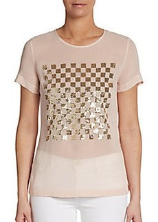French Connection Check Mate Sequined Sheer Top