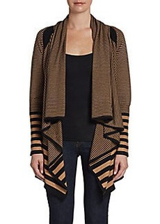 Joan Vass Striped Cascade Cardigan