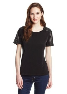 Calvin Klein Women's Short Top With Perforated Sleeve