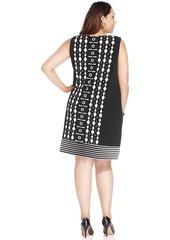 Alfani Plus Size Printed Sleeveless Sheath Dress