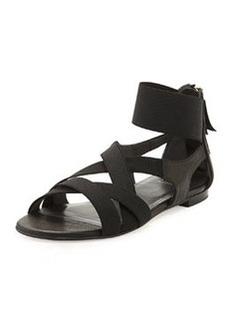 Stuart Weitzman Lasting Elastic & Napa Flat Sandal, Black
