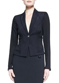 Versace Fitted One-Button Blazer, Black