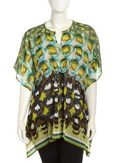 Lafayette 148 New York Galia Shangri La Print Border Blouse, Spectrum Multi