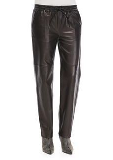 J Brand Ready to Wear Chapman Leather Drawstring-Waist Trousers