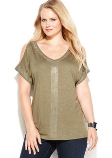 INC International Concepts Plus Size Studded Cold-Shoulder Top