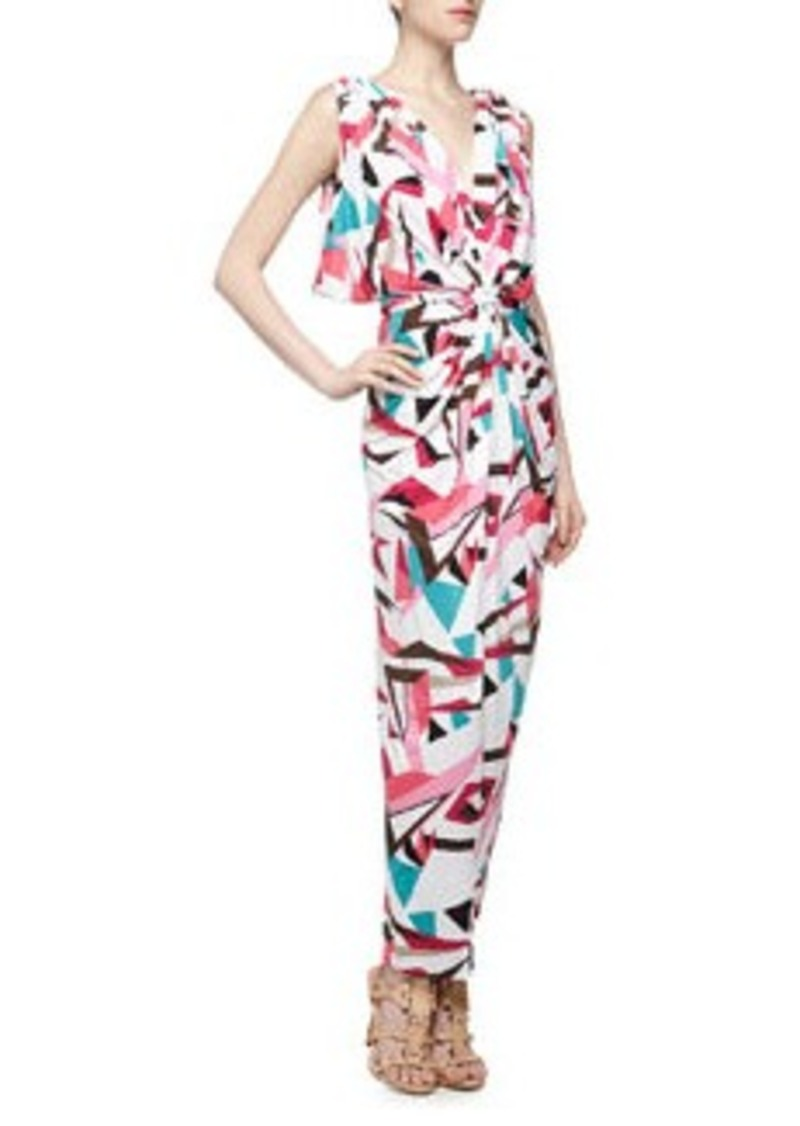 T Bags Knot-Front V Back Geometric Print Maxi Dress, Multi Color