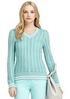 Long-Sleeve Pointelle Cable Knit Sweater