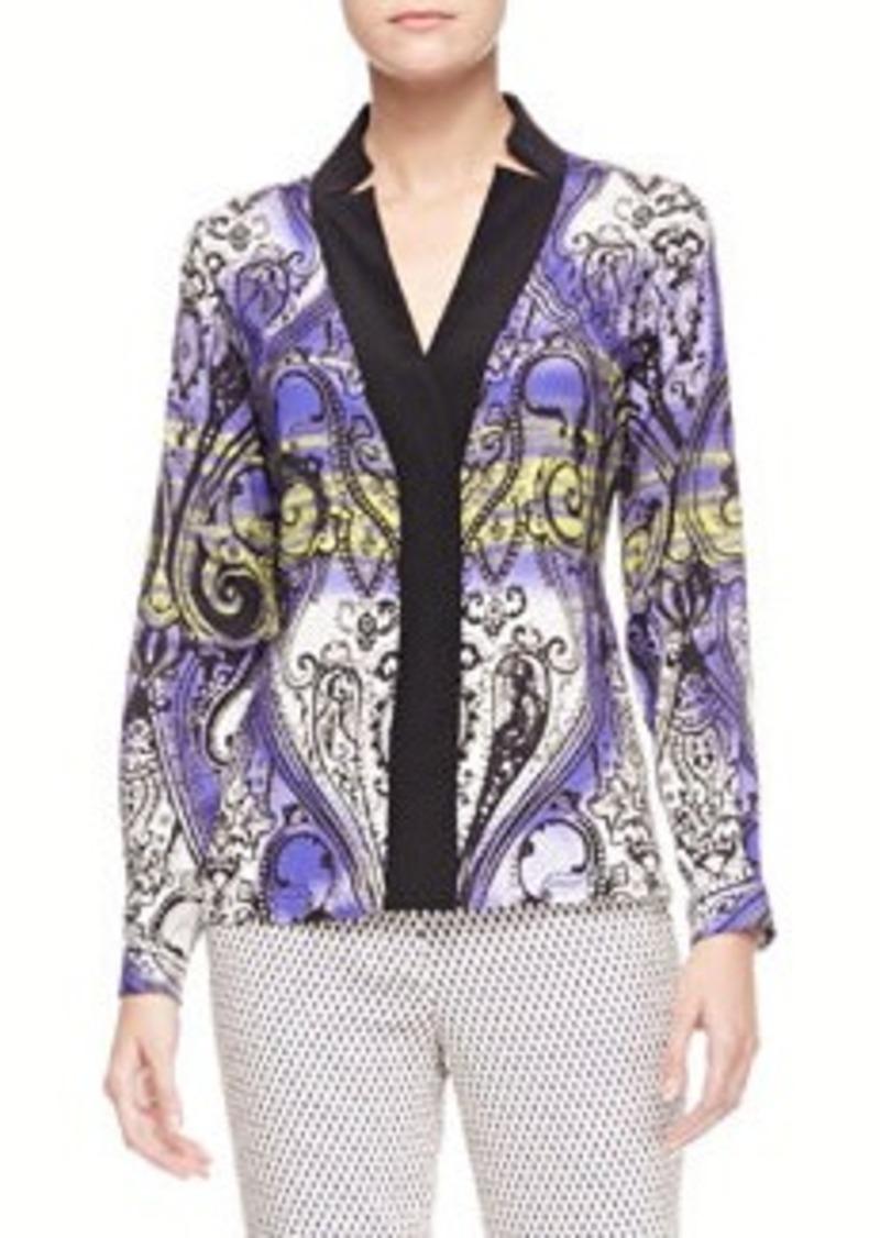 Etro Printed Charmeuse Long-Sleeve Shirt
