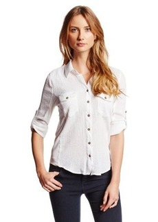Democracy Women's Gauze Button Down Shirt with Knit Rib Insets Roll Tab Sleeves
