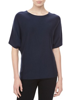 Michael Kors Short-Sleeve Cashmere Top, Midnight