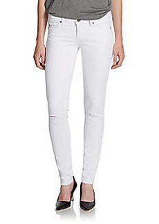 Saks Fifth Avenue GRAY Distressed Super-Skinny Jeans