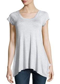 Max Studio Melange Slub Jersey Drape Top, Silver
