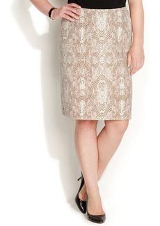 Calvin Klein Plus Size Snakeskin-Print Pencil Skirt