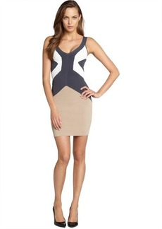 French Connection tan colorblock 'Danni' body con tank dress