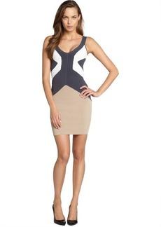 French Connection tan colorblock 'Danni' body con tank dress