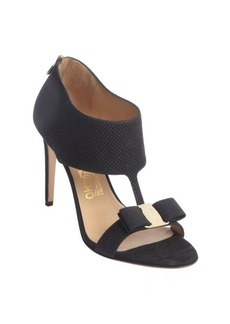 Salvatore Ferragamo black pebbled suede bow detail t-strap 'Pellas' pumps