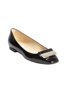 Jimmy Choo black patent leather engraved buckle detail 'Harlow' flats