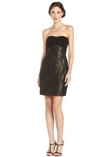 Diane Von Furstenberg black and gold 'Garland' floral lace strapless dress