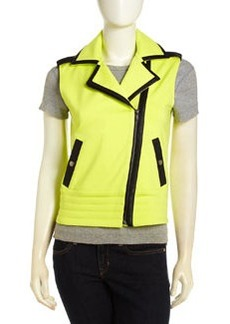 Central Park West Moto Vest with Faux Leather Trim, Citron/Black