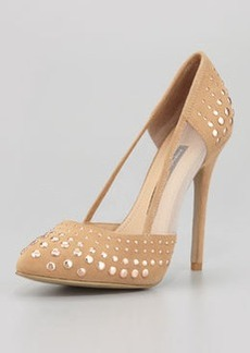 French Connection Calista Studded Mesh-Inset Suede Pump