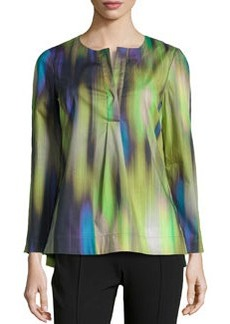Lafayette 148 New York Kareena Brushstroke Ikat-Print Tunic