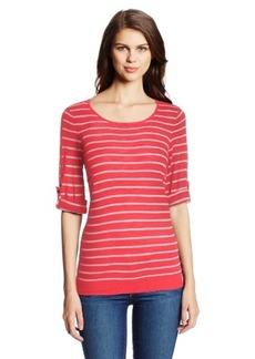 Calvin Klein Women's Striped Roll-Sleeve Sweater
