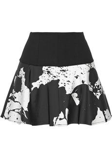 Tibi Coated cotton-blend mini skirt