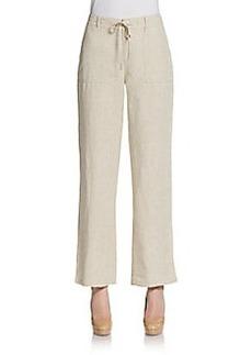 Saks Fifth Avenue BLUE Drawstring Wide-Leg Linen Pants