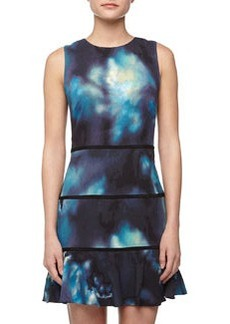 Nicole Miller Watercolor-Print Georgette Dress, Teal
