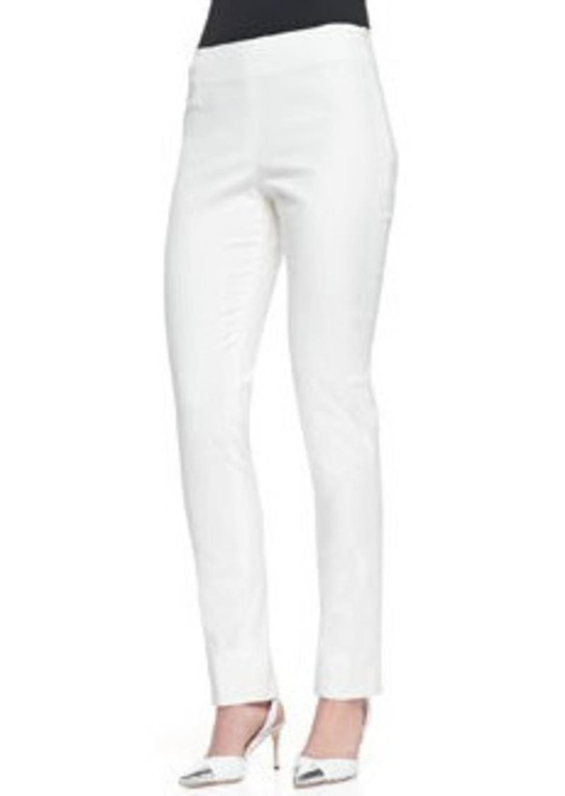 Lela Rose Catherine Slim Straight-Leg Pants, Ivory